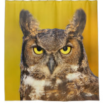 Horned Owl Face Shower Curtain