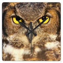 Horned Owl Face Wall Clock