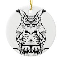 horned owl flash ceramic ornament