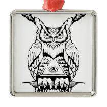 horned owl flash metal ornament