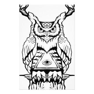 horned owl flash stationery