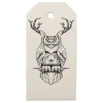 horned owl flash wooden gift tags