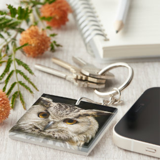 Horned Owl Head Closeup Single-Sided Square Acrylic Keychain