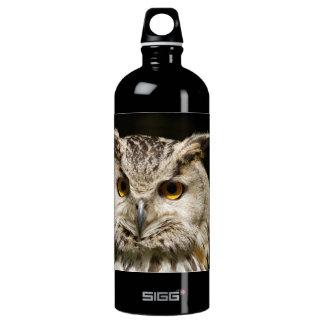 Horned Owl Head Closeup Water Bottle