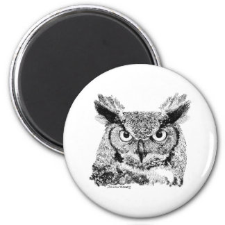 Horned Owl 2 Inch Round Magnet