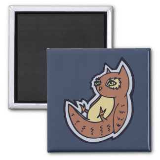 Horned Owl On Its Back Light Belly Drawing Design 2 Inch Square Magnet