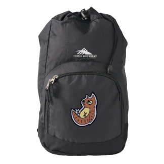 Horned Owl On Its Back Light Belly Drawing Design Backpack