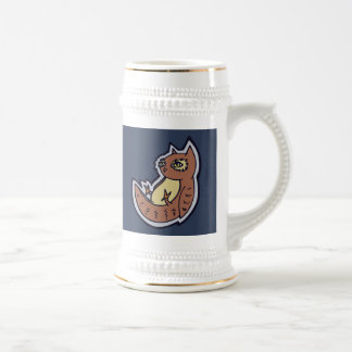 Horned Owl On Its Back Light Belly Drawing Design Beer Stein