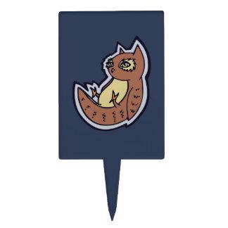 Horned Owl On Its Back Light Belly Drawing Design Cake Topper