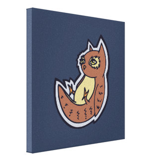 Horned Owl On Its Back Light Belly Drawing Design Canvas Print