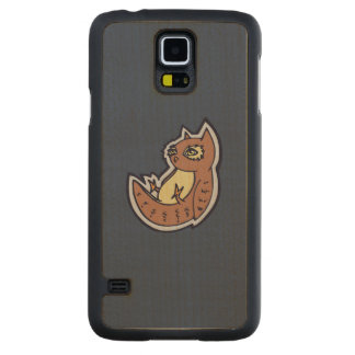 Horned Owl On Its Back Light Belly Drawing Design Carved® Maple Galaxy S5 Case