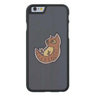 Horned Owl On Its Back Light Belly Drawing Design Carved® Maple iPhone 6 Slim Case