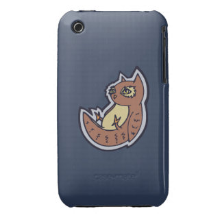 Horned Owl On Its Back Light Belly Drawing Design Case-Mate iPhone 3 Case