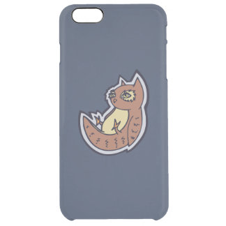 Horned Owl On Its Back Light Belly Drawing Design Clear iPhone 6 Plus Case