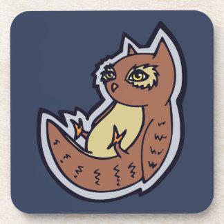 Horned Owl On Its Back Light Belly Drawing Design Coaster