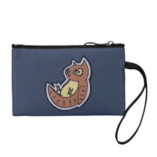 Horned Owl On Its Back Light Belly Drawing Design Coin Purse