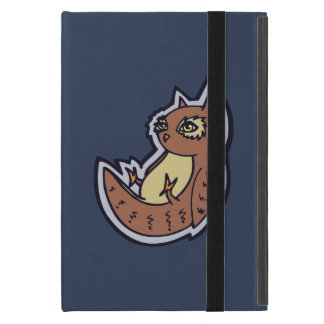 Horned Owl On Its Back Light Belly Drawing Design Cover For iPad Mini