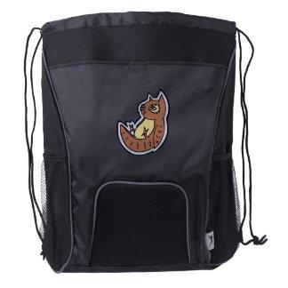 Horned Owl On Its Back Light Belly Drawing Design Drawstring Backpack