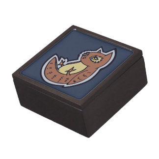 Horned Owl On Its Back Light Belly Drawing Design Gift Box