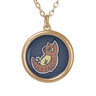 Horned Owl On Its Back Light Belly Drawing Design Gold Plated Necklace