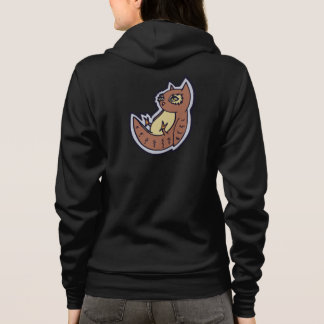 Horned Owl On Its Back Light Belly Drawing Design Hoodie