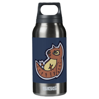 Horned Owl On Its Back Light Belly Drawing Design Insulated Water Bottle