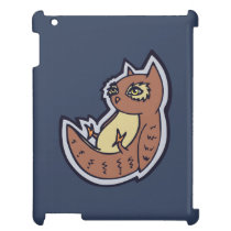 Horned Owl On Its Back Light Belly Drawing Design iPad Covers