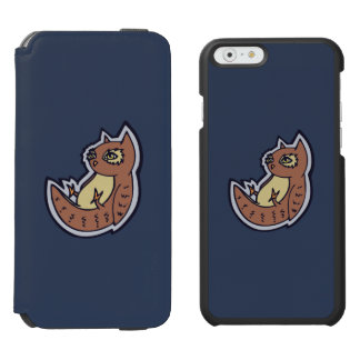 Horned Owl On Its Back Light Belly Drawing Design iPhone 6/6s Wallet Case