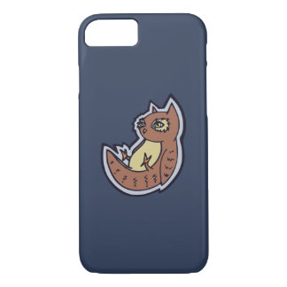 Horned Owl On Its Back Light Belly Drawing Design iPhone 7 Case