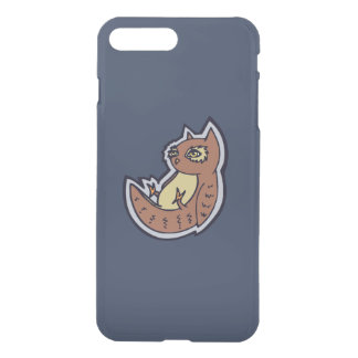 Horned Owl On Its Back Light Belly Drawing Design iPhone 7 Plus Case