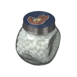 Horned Owl On Its Back Light Belly Drawing Design Jelly Belly Candy Jar