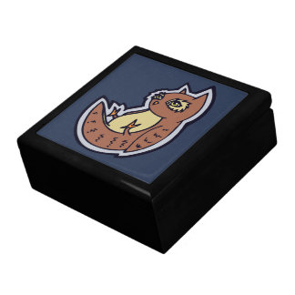 Horned Owl On Its Back Light Belly Drawing Design Jewelry Box