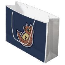 Horned Owl On Its Back Light Belly Drawing Design Large Gift Bag