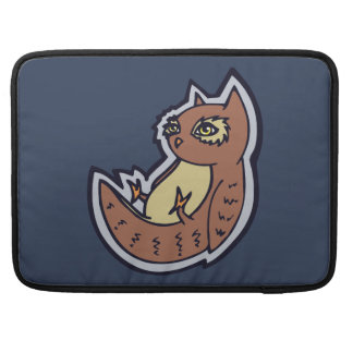 Horned Owl On Its Back Light Belly Drawing Design MacBook Pro Sleeve