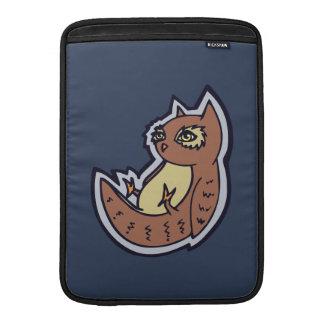 Horned Owl On Its Back Light Belly Drawing Design MacBook Sleeve