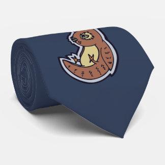 Horned Owl On Its Back Light Belly Drawing Design Neck Tie