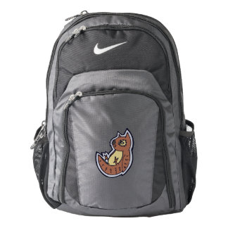 Horned Owl On Its Back Light Belly Drawing Design Nike Backpack