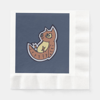 Horned Owl On Its Back Light Belly Drawing Design Paper Napkin