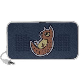 Horned Owl On Its Back Light Belly Drawing Design Portable Speaker
