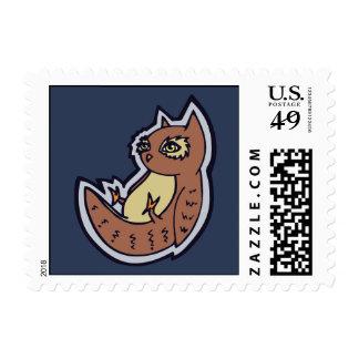 Horned Owl On Its Back Light Belly Drawing Design Postage Stamps