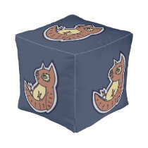 Horned Owl On Its Back Light Belly Drawing Design Pouf