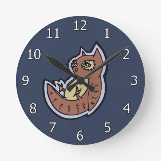 Horned Owl On Its Back Light Belly Drawing Design Round Clock