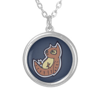 Horned Owl On Its Back Light Belly Drawing Design Round Pendant Necklace