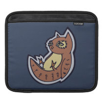 Horned Owl On Its Back Light Belly Drawing Design Sleeve For iPads