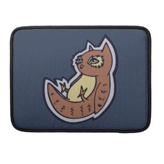 Horned Owl On Its Back Light Belly Drawing Design Sleeve For MacBooks