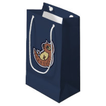 Horned Owl On Its Back Light Belly Drawing Design Small Gift Bag