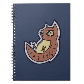 Horned Owl On Its Back Light Belly Drawing Design Spiral Notebook