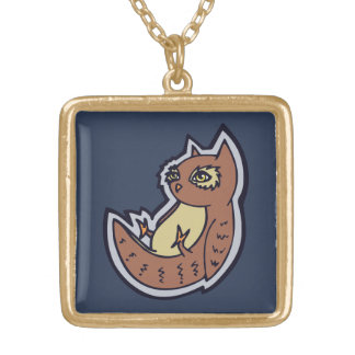 Horned Owl On Its Back Light Belly Drawing Design Square Pendant Necklace