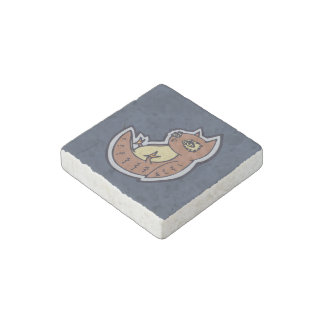Horned Owl On Its Back Light Belly Drawing Design Stone Magnet