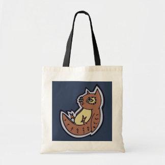Horned Owl On Its Back Light Belly Drawing Design Tote Bag